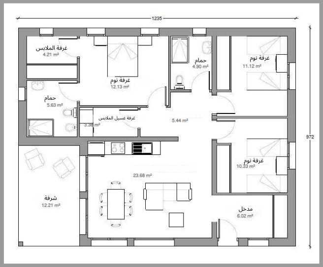 تصميم آخر لمنزل صغير 120م