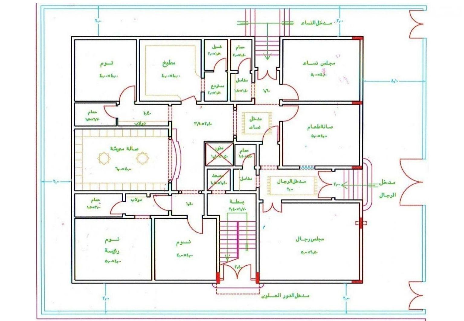 مخطط بيت دور واحد 300 متر سعودي
