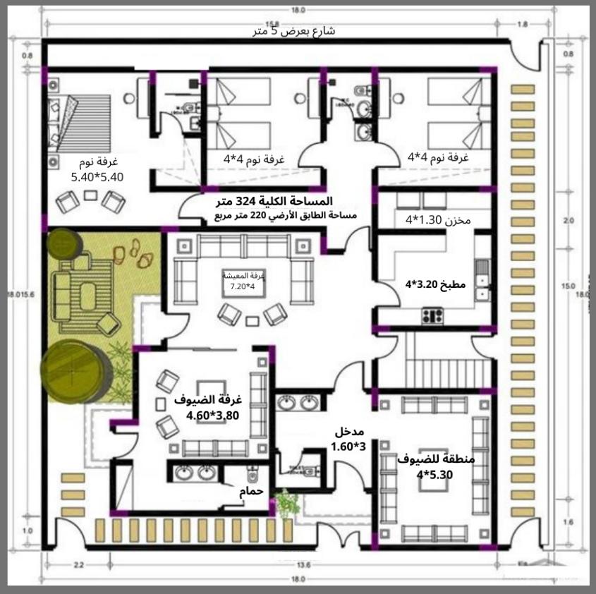 مخطط بيت دور واحد سعودي