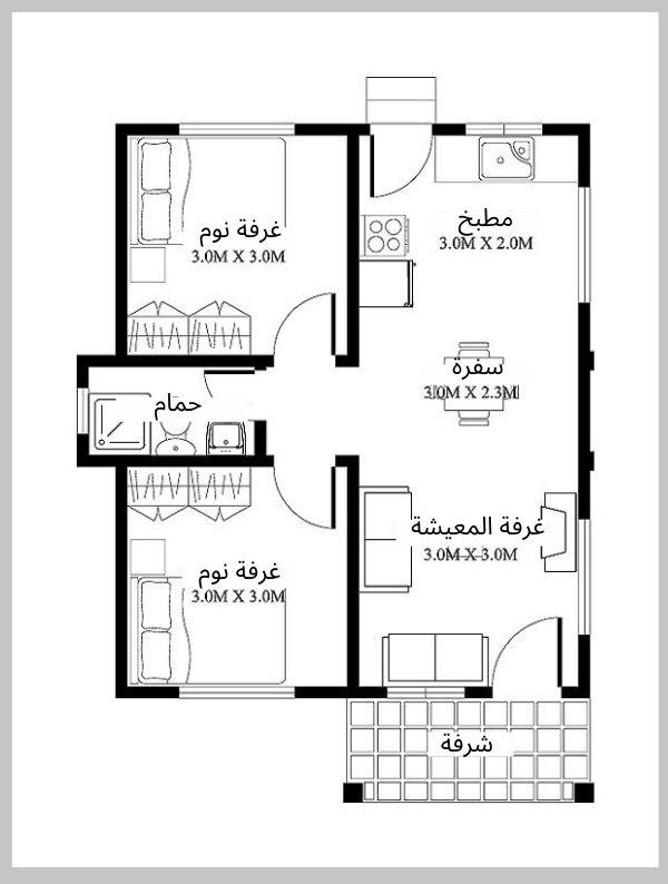 مخطط شقة 120 متر مربع